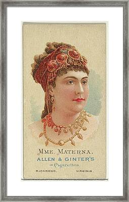 Mme. Materna, From Worlds Beauties Framed Print