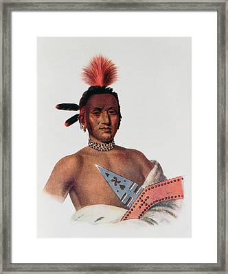 Moa-na-hon-ga Or Great Walker, An Iowa Chief, 1824, Illustration From The Indian Tribes Of North Framed Print