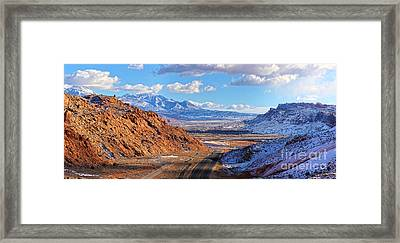 Moab Fault Medium Panorama Framed Print by Adam Jewell