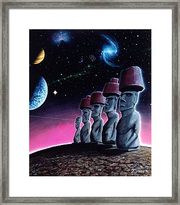 Moai On The Small Planet Framed Print