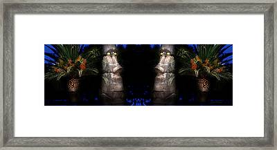 Moai Silver Framed Print by Gunter Nezhoda