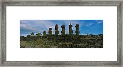 Moai Statues In A Row, Rano Raraku Framed Print