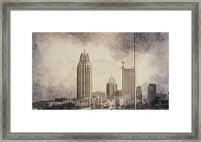 Mobile Alabama Black And White Framed Print