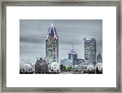 Mobile At Night Framed Print by JC Findley