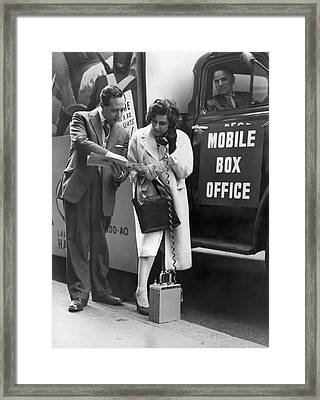 Mobile Box Office Phone Framed Print by Underwood Archives