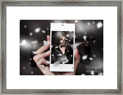 Mobile Phone Capturing A Broadway Cabaret Show Framed Print by Jorgo Photography - Wall Art Gallery