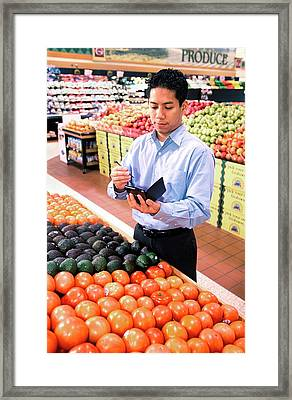 Mobile Phone Nutrition Application Framed Print by Stephen Ausmus/us Department Of Agriculture