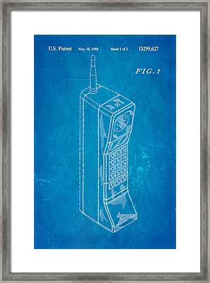 Mobile Phone Patent Art 1988 Blueprint Framed Print by Ian Monk