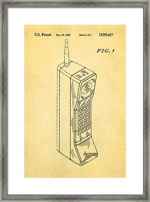 Mobile Phone Patent Art 1988 Framed Print by Ian Monk