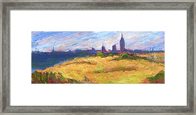 Mobile Skyline From Felixs Windy Day Framed Print
