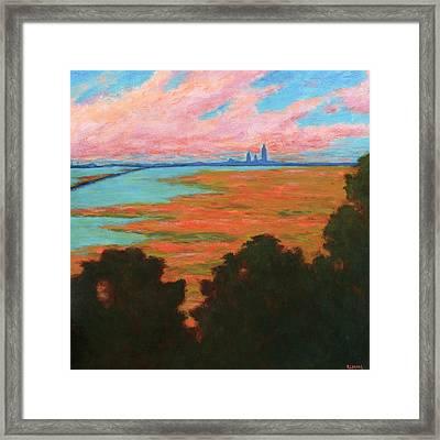 Mobile Skyline From The Eastern Shorte Framed Print by Vernon Reinike
