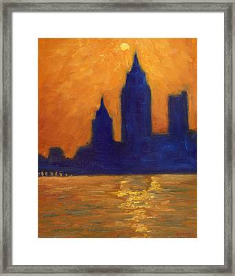 Mobile Skyline Late Evening Framed Print