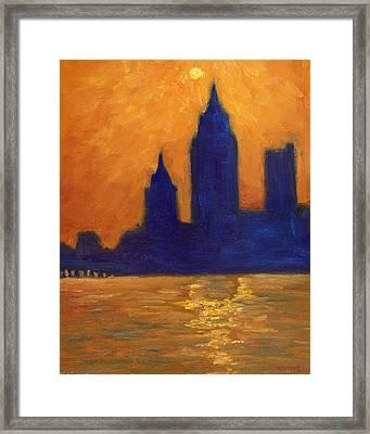 Mobile Skyline Late Evening Framed Print by Vernon Reinike