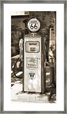 Mobilgas Special - Tokheim Pump  - Sepia Framed Print by Mike McGlothlen