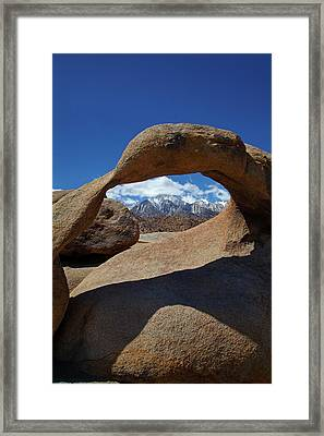Mobius Arch, Alabama Hills, And Snow Framed Print by David Wall