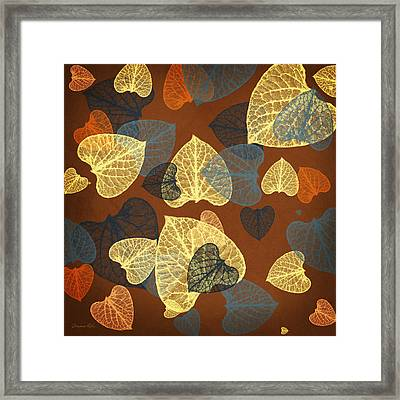 Mocha Abstract Leaves Square Framed Print