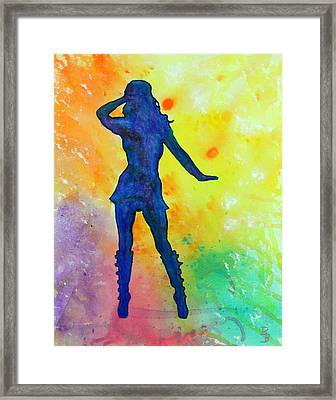 Mod Girl Female Silhouette Abstract Framed Print by Bob Baker