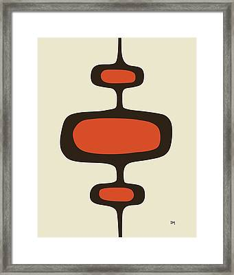 Mod Pod One Orange With Brown Framed Print by Donna Mibus
