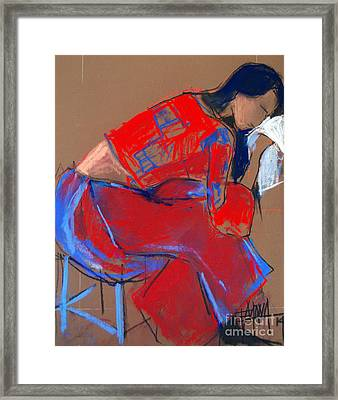Model #3 - Woman Wiping Her Face - Figure Series Framed Print by Mona Edulesco