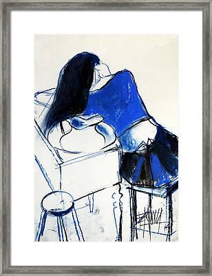 Model #4 - Figure Series Framed Print by Mona Edulesco