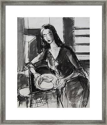 Model #5 - Figure Series Framed Print by Mona Edulesco