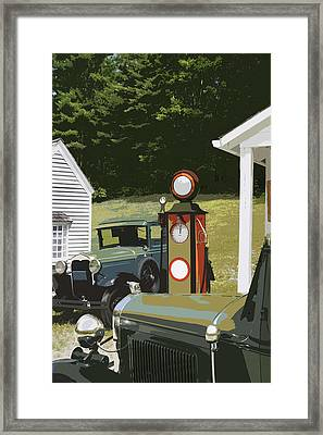 Model A Ford And Old Gas Station Illustration  Framed Print by Keith Webber Jr