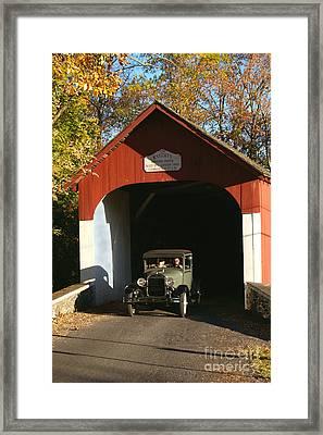 Model A Ford At Knecht's Bridge Framed Print