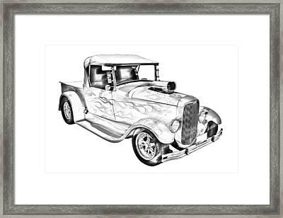 Model A Ford Pickup Hotrod Illustration Framed Print by Keith Webber Jr