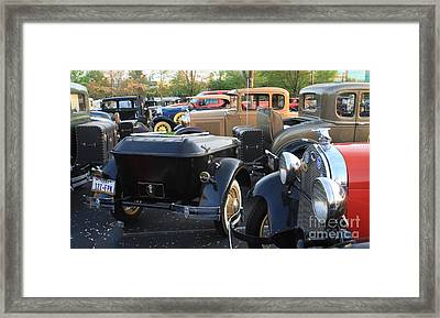 Model A With Trailor Framed Print by Connie Mueller