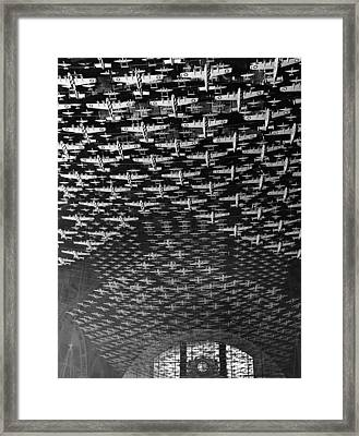 Model Airplanes Decorate Union Station Chicago Framed Print by Historic Photos