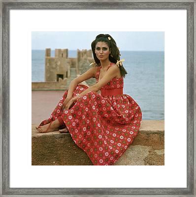 Model At The Castello San' Nicola Framed Print