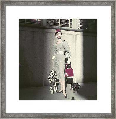 Model Barbara Mullen Wearing Suit By Herbert Framed Print