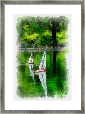 Model Boat Basin Central Park Framed Print by Amy Cicconi