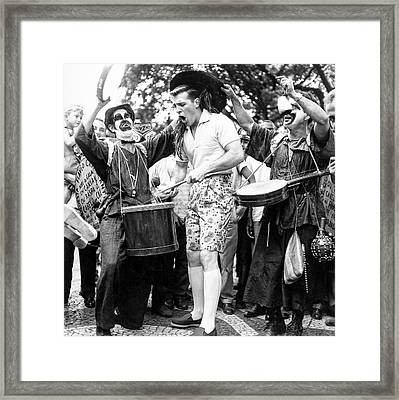 Model Drumming At A Carnival Framed Print
