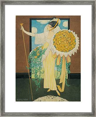 Model Holding A Bouquet Framed Print by George Wolfe Plank