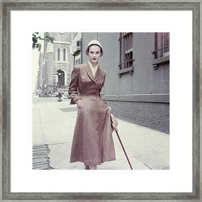 Model In A Brown Coat Dress Framed Print