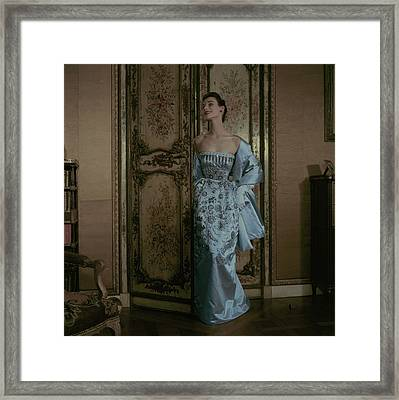 Model In A Dior Gown Framed Print