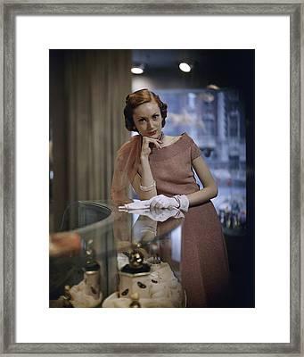 Model In A Knit Dress At Dorothy Gray Salon Framed Print
