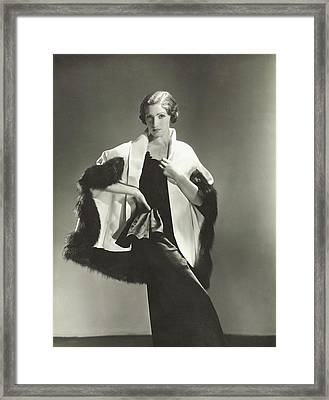 Model In A Maggy Rouff Cape And Satin Dress Framed Print