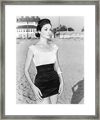 Model In A Mini Skirt Framed Print by Underwood Archives
