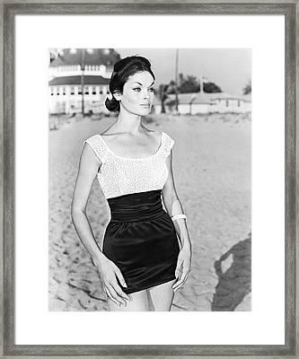 Model In A Mini Skirt Framed Print
