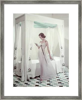 Model In A Nightgown Reading A Letter Framed Print