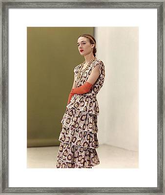 Model In A Patterned Dress By Queen Make Fashions Framed Print