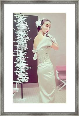 Model In A Sheath Dress Framed Print