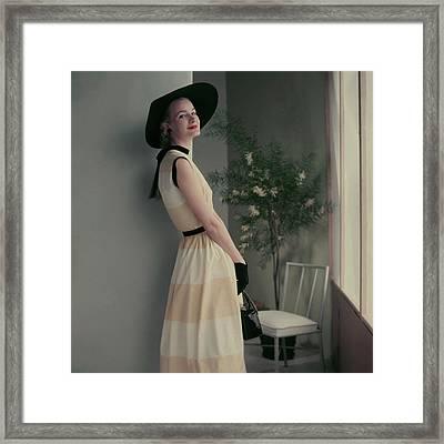 Model In A Striped Dress Framed Print