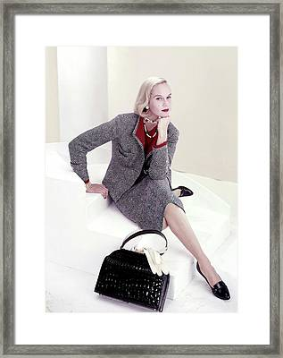 Model In A Tweed Suit Framed Print