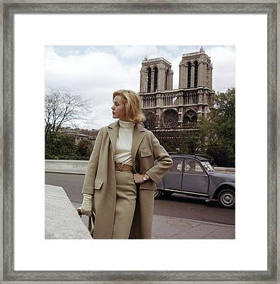 Model In A Wool Suit By Modelia At The Notre-dame Framed Print