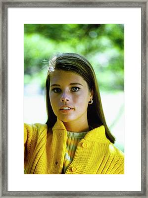 Model In A Yellow Cardigan Framed Print