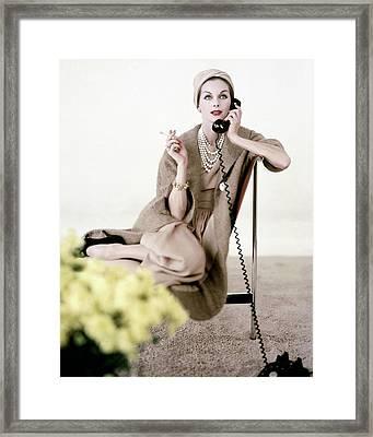 Model In Ben Zuckerman Talking On A Telephone Framed Print
