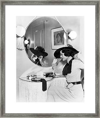 Model In Front Of A Mirror Framed Print